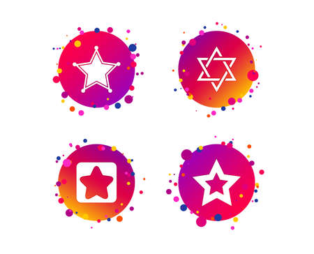 Star of David icons. Sheriff police sign. Symbol of Israel. Gradient circle buttons with icons. Random dots design. Vector