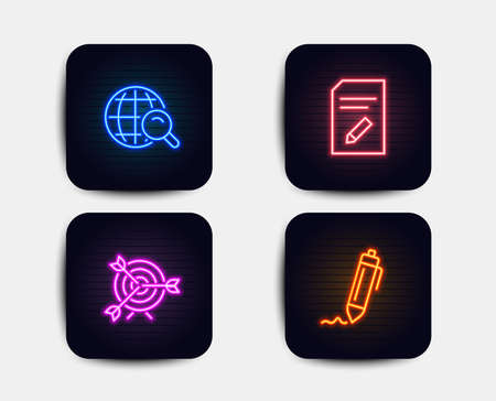 Neon glow lights. Set of Internet search, Target and Edit document icons. Signature sign. Web finder, Targeting, Page with pencil. Written pen.  Neon icons. Glowing light banners. Vector