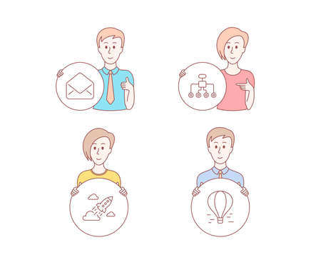 People hand drawn style. Set of Mail, Restructuring and Startup rocket icons. Air balloon sign. E-mail, Delegate, Business innovation. Flight travel.  Character hold circle button. Man with like hand