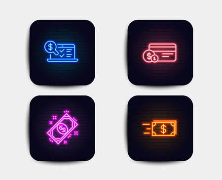 Neon glow lights. Set of Payment, Payment method and Online accounting icons. Money transfer sign. Finance, Web audit, Cash delivery.  Neon icons. Glowing light banners. Vector Illustration