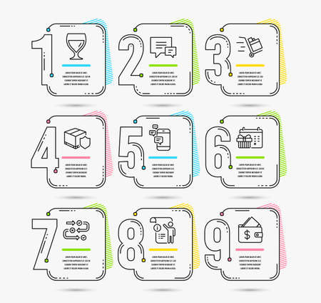 Infographic template with numbers 9 options. Set of Wine glass, Christmas calendar and Comment icons. Delivery insurance, Push cart and Communication signs. Vector Иллюстрация
