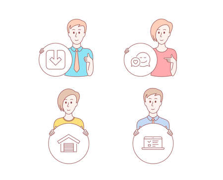 People hand drawn style. Set of Parking garage, Load document and Dating icons. Web lectures sign. Car place, Download arrowhead, Love messenger. Online test.  Character hold circle button. Vector