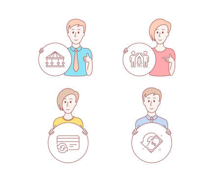 People hand drawn style. Set of Change card, Carousels and Partnership icons. Cashback sign. Payment method, Attraction park, Business startup. Receive money.  Character hold circle button. Vector Illustration