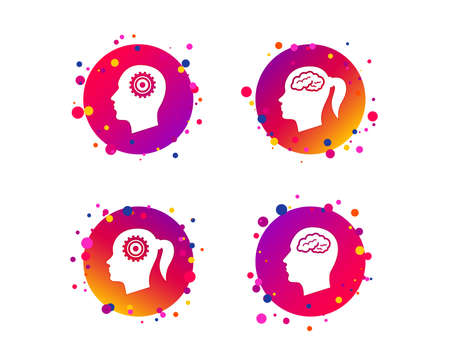 Head with brain icon. Male and female human think symbols. Cogwheel gears signs. Woman with pigtail. Gradient circle buttons with icons. Random dots design. Vector Illustration