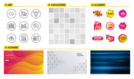 Seamless pattern. Shopping mall banners. Set of Business growth, Quick tips and Pay icons. Parking garage, Microphone and Sync signs. Documentation, Parking security and Christmas calendar symbols Illustration