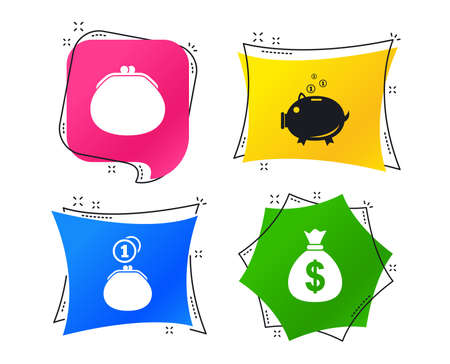 Wallet with cash coin and piggy bank moneybox symbols. Dollar USD currency sign. Geometric colorful tags. Banners with flat icons. Trendy design. Vector Çizim