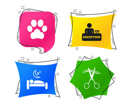 Hotel services icons. With pets allowed in room signs. Hairdresser or barbershop symbol. Reception registration table. Quiet sleep. Geometric colorful tags. Banners with flat icons. Trendy design