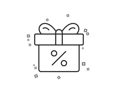 Gift box with Percentage line icon. Present or Sale sign. Birthday Shopping symbol. Package in Gift Wrap. Geometric shapes. Random cross elements. Linear Discount offer icon design. Vector