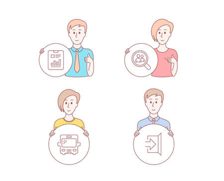 People hand drawn style. Set of Report document, Search employees and Bus icons. Exit sign. Page with charts, Staff analysis, Tourism transport. Escape. Character hold circle button. Vector