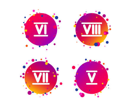 Roman numeral icons. 5, 6, 7 and 8 digit characters. Ancient Rome numeric system. Gradient circle buttons with icons. Random dots design. Vector