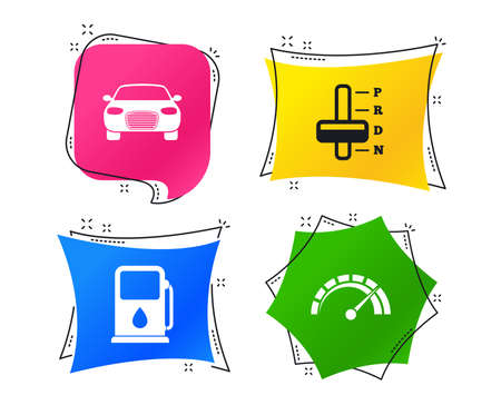 Transport icons. Car tachometer and automatic transmission symbols. Petrol or Gas station sign. Geometric colorful tags. Banners with flat icons. Trendy design. Vector