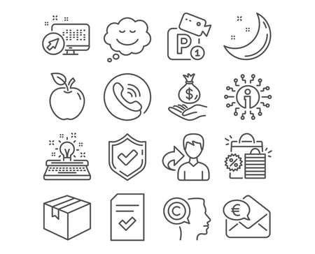 Set of Speech bubble, Parking security and Typewriter icons. Parcel, Euro money and Income money signs. Shopping bags, Writer and Checked file symbols. Comic chat, Video camera, Inspiration. Vector Ilustracja