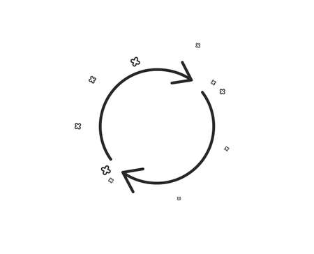Refresh line icon. Rotation arrow sign. Reset or Reload symbol. Geometric shapes. Random cross elements. Linear Full rotation icon design. Vector