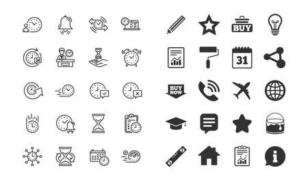 Time line icons. Set of Calendar, Time management and Delivery service linear icons. Checklist, Stopwatch timer and Hand holds hourglass symbols. Test, 24 hours and Presentation. Vector