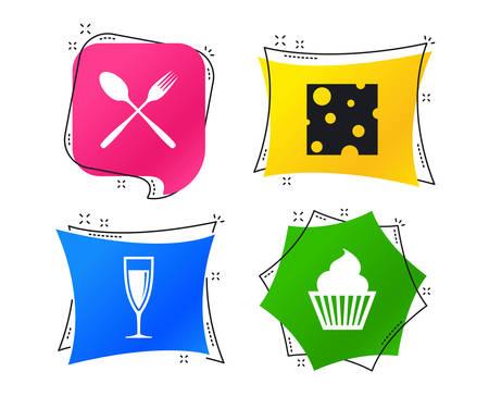 Icônes de nourriture. Symbole de petit gâteau de muffin. Signe de fourchette et cuillère. Coupe de champagne ou de vin. Tranche de fromage. Balises géométriques colorées. Bannières avec des icônes plates. Conception à la mode. Vecteur