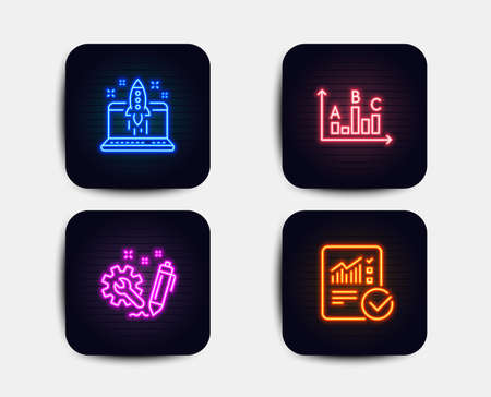 Neon glow lights. Set of Engineering, Start business and Survey results icons. Checked calculation sign. Construction, Launch idea, Best answer. Statistical data.  Neon icons. Glowing light banners Illustration