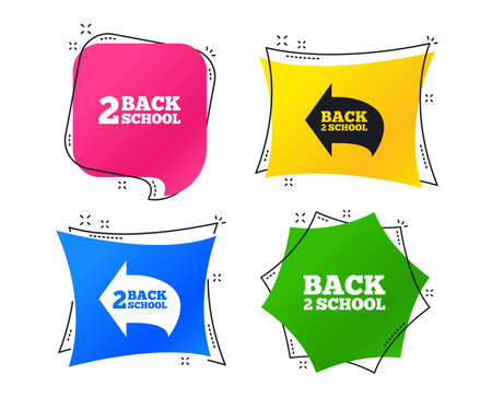 Back to school icons. Studies after the holidays signs symbols. Geometric colorful tags. Banners with flat icons. Trendy design. Vector