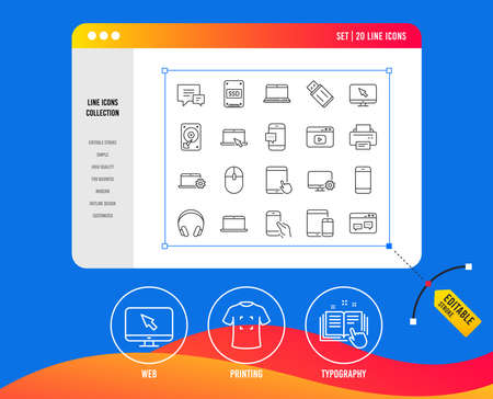 Mobile Devices line icons. Set of Laptop, Tablet PC and Smartphone signs. HDD, SSD and Flash drives. Headphones, Printer and Mouse symbols. Chat speech bubbles. Printing, web and typography icons Illustration