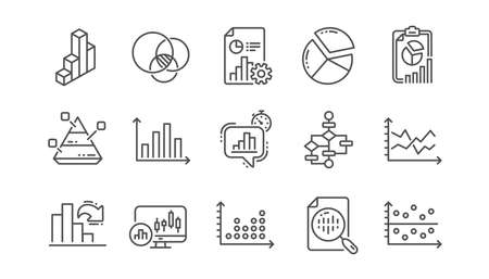 Charts and graphs line icons. Infochart, Block diagram and Algorithm. Presentation linear icon set  Vector Illustration