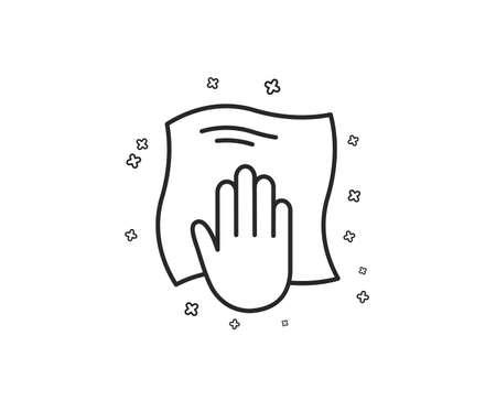 Reinigungstuch Liniensymbol. Mit einem Lappensymbol abwischen. Zeichen für Haushaltsgeräte. Geometrische Formen. Zufällige Kreuzelemente. Lineares Waschtuch-Icon-Design. Vektor Vektorgrafik