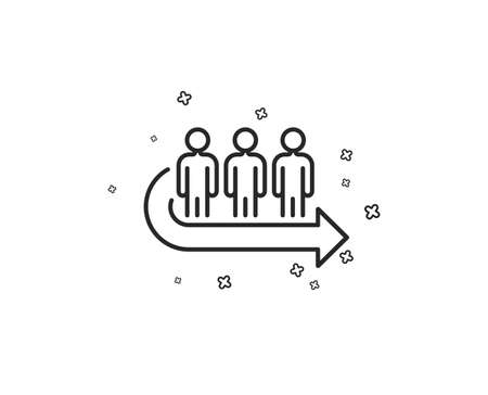 Queue line icon. People waiting sign. Direction arrow symbol. Geometric shapes. Random cross elements. Linear Queue icon design. Vector Ilustrace