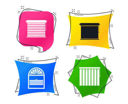 Louvers icons. Plisse, rolls, vertical and horizontal. Window blinds or jalousie symbols. Geometric colorful tags. Banners with flat icons. Trendy design. Vector