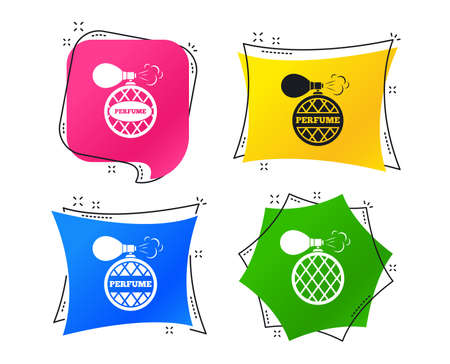 Perfume bottle icons. Glamour fragrance sign symbols. Geometric colorful tags. Banners with flat icons. Trendy design. Vector