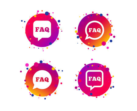 FAQ information icons. Help speech bubbles symbols. Circle and square talk signs. Gradient circle buttons with icons. Random dots design. Vector