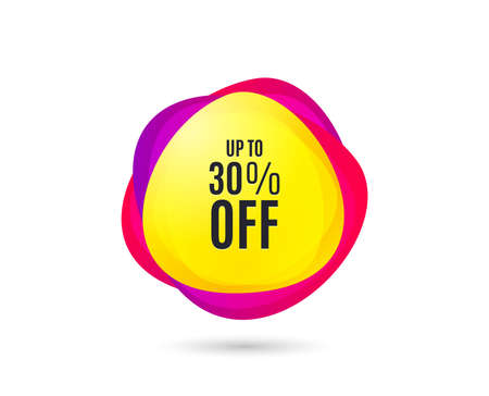 Up to 30% off Sale. Discount offer price sign. Special offer symbol. Save 30 percentages. Gradient sales tag. Abstract shopping banner. Template for design. Vector