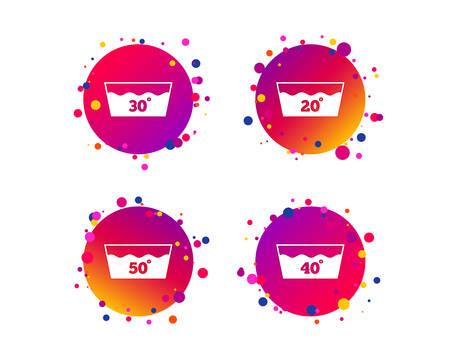 Wash icons. Machine washable at 20, 30, 40 and 50 degrees symbols. Laundry washhouse signs. Gradient circle buttons with icons. Random dots design. Vector