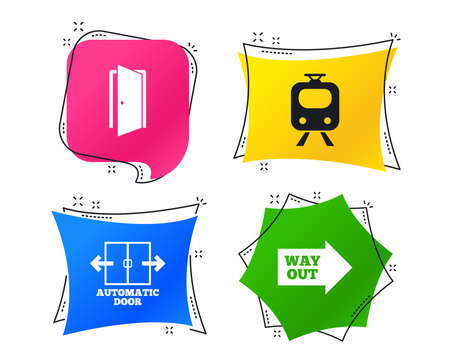 Train railway icon. Automatic door symbol. Way out arrow sign. Geometric colorful tags. Banners with flat icons. Trendy design. Vector
