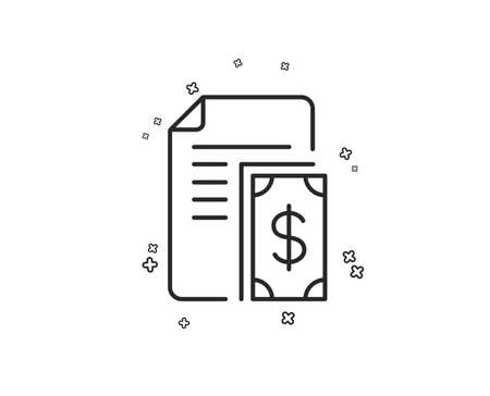 Payment line icon. Document with cash money symbol. Dollar currency sign. Geometric shapes. Random cross elements. Linear Payment icon design. Vector
