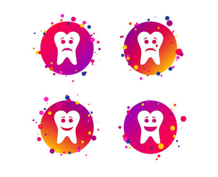 Tooth happy, sad and crying faces icons. Dental care signs. Healthy or unhealthy teeth symbols. Gradient circle buttons with icons. Random dots design. Vector