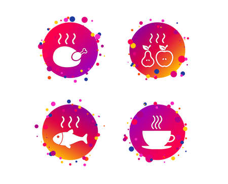 Hot food icons. Grill chicken and fish symbols. Hot coffee cup sign. Cook or fry apple and pear fruits. Gradient circle buttons with icons. Random dots design. Vector Ilustracja