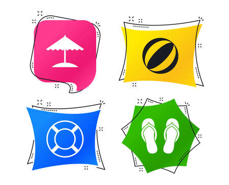 Beach holidays icons. Ball, umbrella and flip-flops sandals signs. Lifebuoy symbol. Geometric colorful tags. Banners with flat icons. Trendy design. Vector