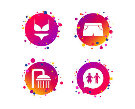 Swimming pool icons. Shower water drops and swimwear symbols. WC Toilet speech bubble sign. Trunks and women underwear. Gradient circle buttons with icons. Random dots design. Vector Stok Fotoğraf - 124722189