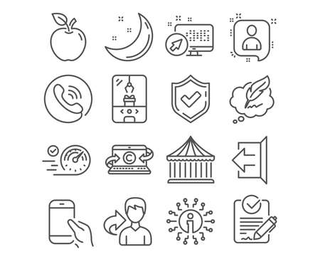 Set of Copywriting notebook, Copyright chat and Rfp icons. Crane claw machine, Carousels and Sign out signs. Developers chat, Speedometer and Hold smartphone symbols. Vector