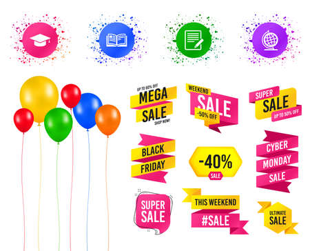 Balloons party. Sales banners. Pencil with document and open book icons. Graduation cap and geography globe symbols. Learn signs. Birthday event. Trendy design. Vector