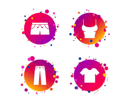 Clothes icons. T-shirt and pants with shorts signs. Swimming trunks symbol. Gradient circle buttons with icons. Random dots design. Vector Illustration