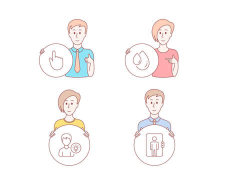 People hand drawn style. Set of Oil drop, Hand click and Person idea icons. Elevator sign. Serum, Location pointer, Lamp energy. Office transportation.  Character hold circle button. Vector