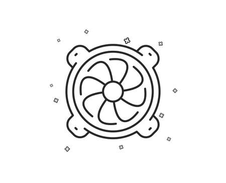 Computer cooler line icon. PC fan component sign. Geometric shapes. Random cross elements. Linear Computer fan icon design. Vector Standard-Bild - 124722200