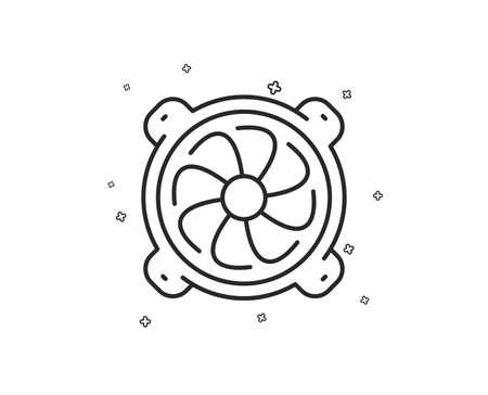 Computer cooler line icon. PC fan component sign. Geometric shapes. Random cross elements. Linear Computer fan icon design. Vector