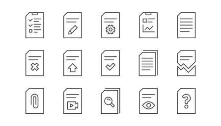 Document line icons. Report, Checklist and Download file. Read message linear icon set. Vector