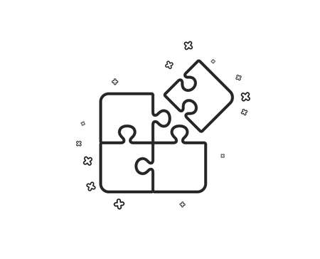 Puzzle line icon. Engineering strategy sign. Geometric shapes. Random cross elements. Linear Puzzle icon design. Vector Illusztráció