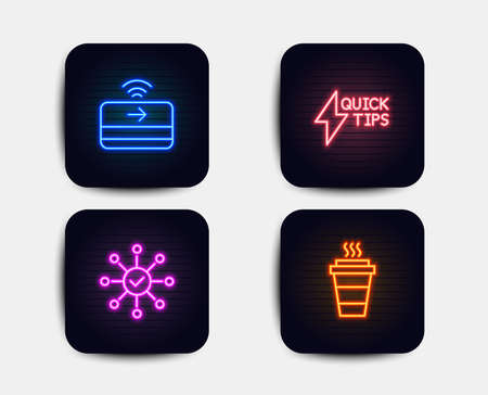 Neon glow lights. Set of Contactless payment, Quickstart guide and Survey check icons. Takeaway sign. Financial payment, Lightning symbol, Correct answer. Takeout coffee.  Neon icons. Vector