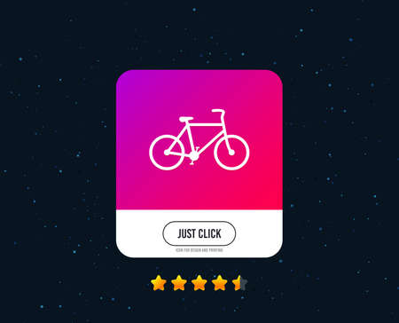 Bicycle sign icon. Eco delivery. Family vehicle symbol. Web or internet icon design. Rating stars. Just click button. Vector