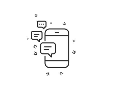 Communication line icon. Smartphone chat symbol. Business messages sign. Geometric shapes. Random cross elements. Linear Communication icon design. Vector