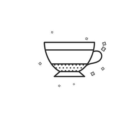 Dry Cappuccino coffee icon. Hot drink sign. Beverage symbol. Geometric shapes. Random cross elements. Linear Dry Cappuccino icon design. Vector Çizim