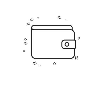 Money Wallet line icon. Cash symbol. Payment method sign. Geometric shapes. Random cross elements. Linear Money Wallet icon design. Vector 向量圖像