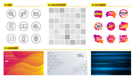 Seamless pattern. Shopping mall banners. Set of Startup, Data analysis and Copyright icons. Report document, Book and Marketing strategy signs. Video camera, Messenger mail and Approved symbols